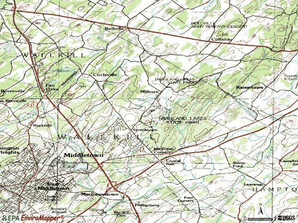 Zip code 10941 topographic map