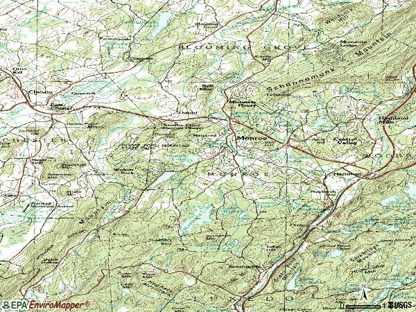 Zip code 10950 topographic map