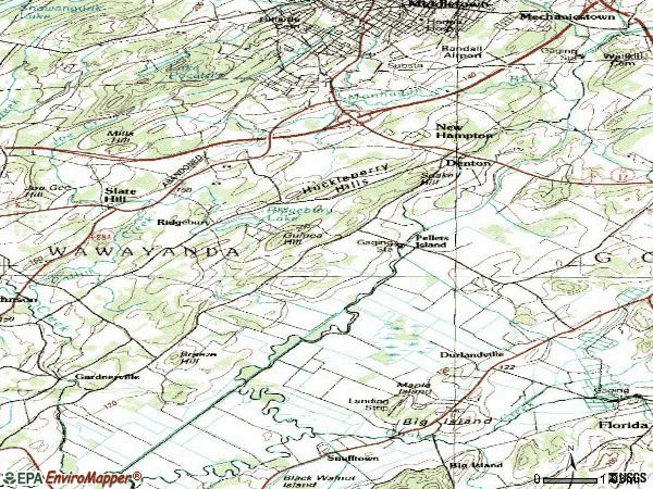 Zip code 10958 topographic map