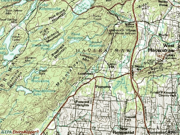 Zip code 10970 topographic map