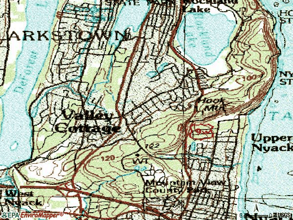 Zip code 10989 topographic map