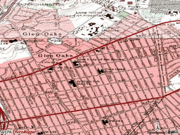 Zip code 11004 topographic map