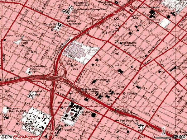 Zip code 90015 topographic map