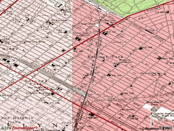 Zip code 11219 topographic map