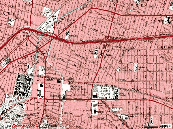 Zip code 90016 topographic map