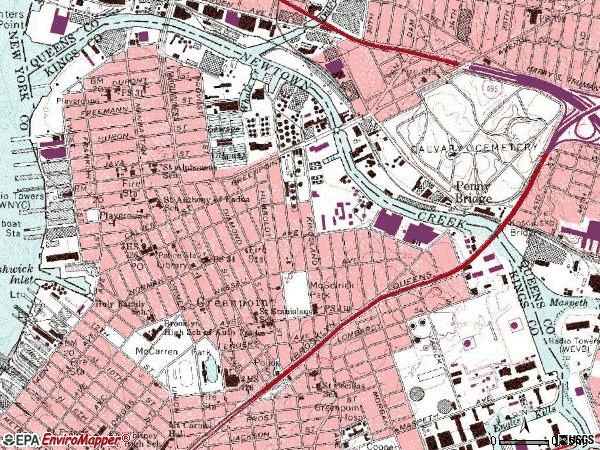 Zip code 11222 topographic map