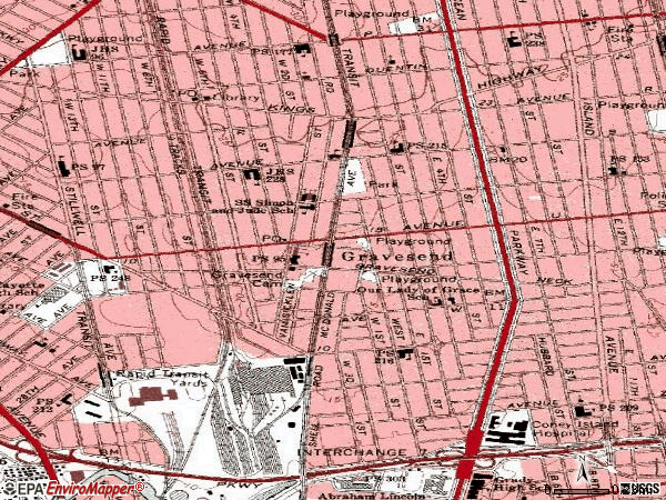 Zip code 11223 topographic map