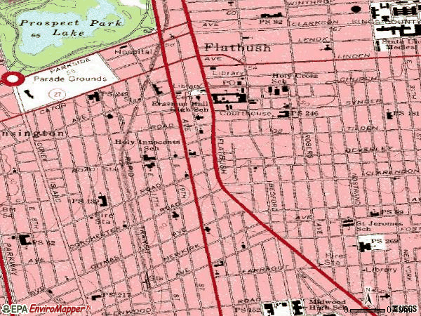 Zip code 11226 topographic map