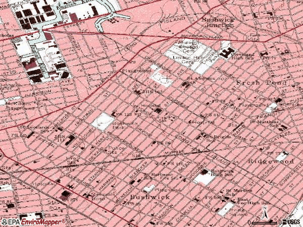 Zip code 11237 topographic map