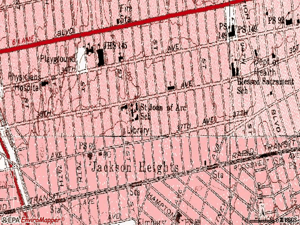 Zip code 11372 topographic map