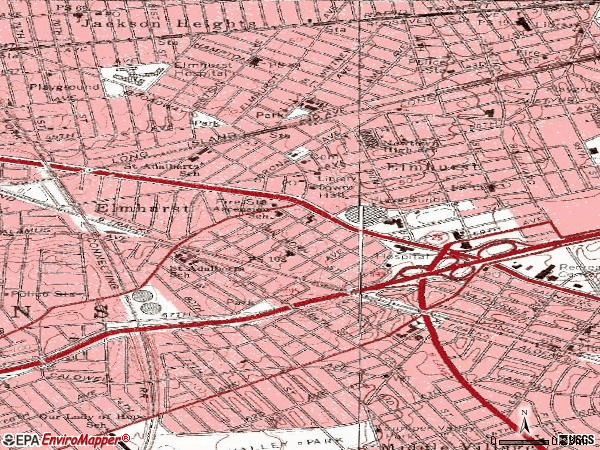 Zip code 11373 topographic map