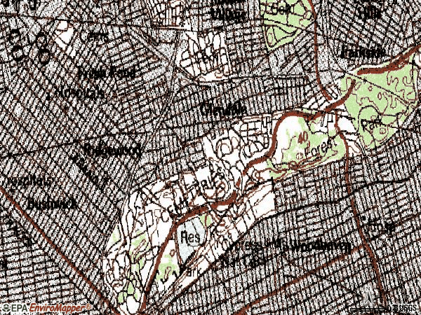 Zip code 11385 topographic map
