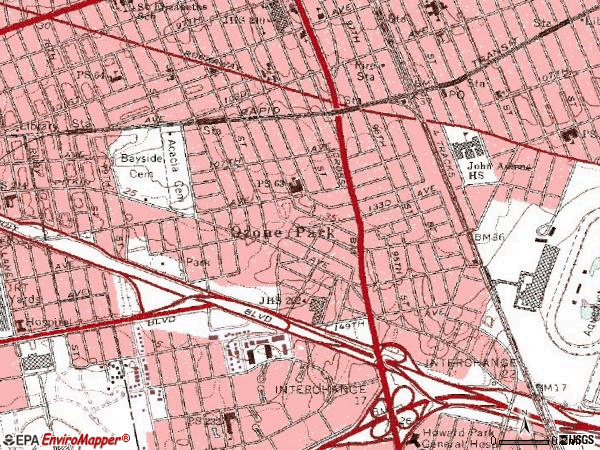 Zip code 11417 topographic map