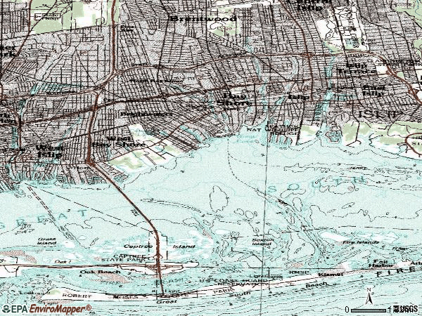 Zip code 11706 topographic map
