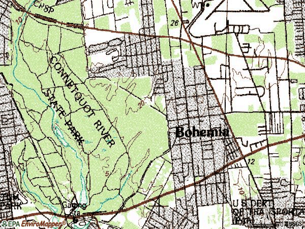 Zip code 11716 topographic map