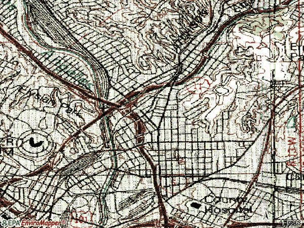 Zip code 90031 topographic map