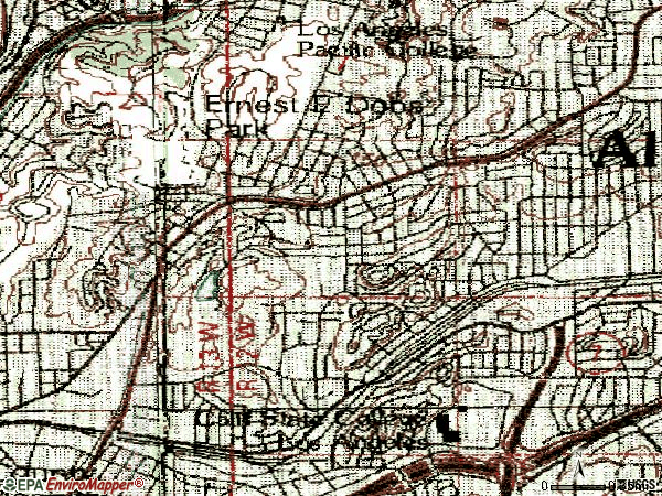 Zip code 90032 topographic map