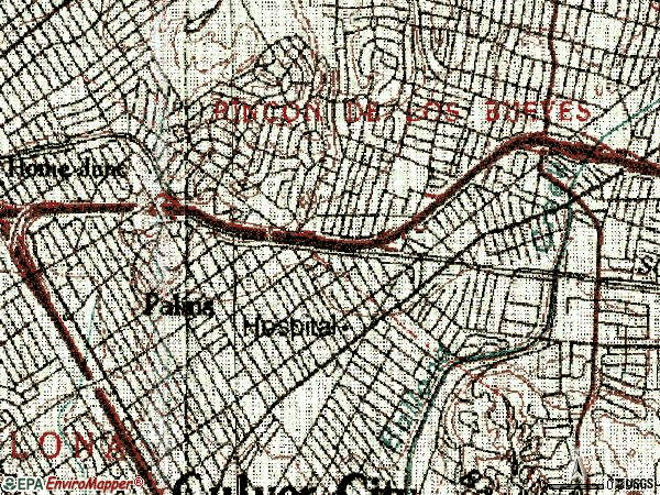 Zip code 90034 topographic map