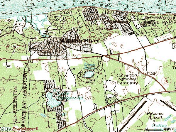 Zip code 11792 topographic map