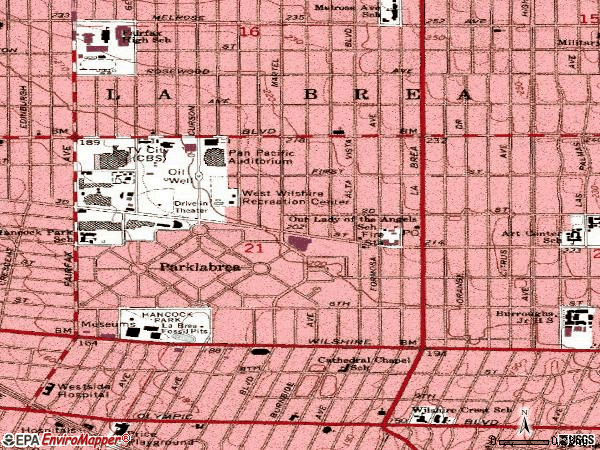 Zip code 90036 topographic map