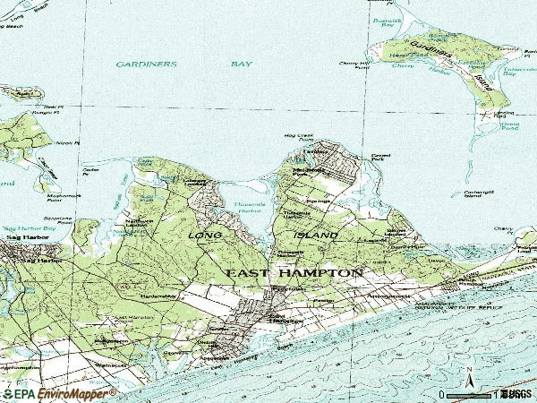 Zip code 11937 topographic map