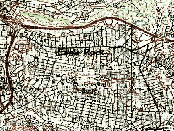 Zip code 90041 topographic map