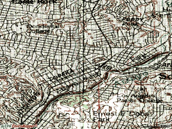 Zip code 90042 topographic map