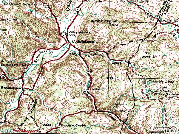 Zip code 12122 topographic map
