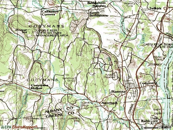 Zip code 12143 topographic map