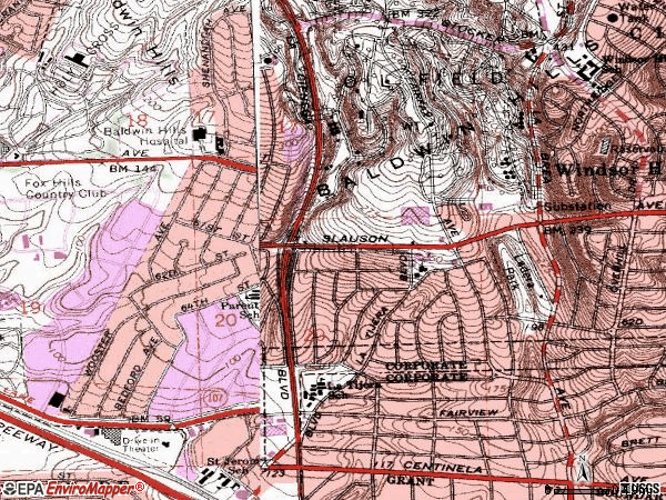 Zip code 90056 topographic map