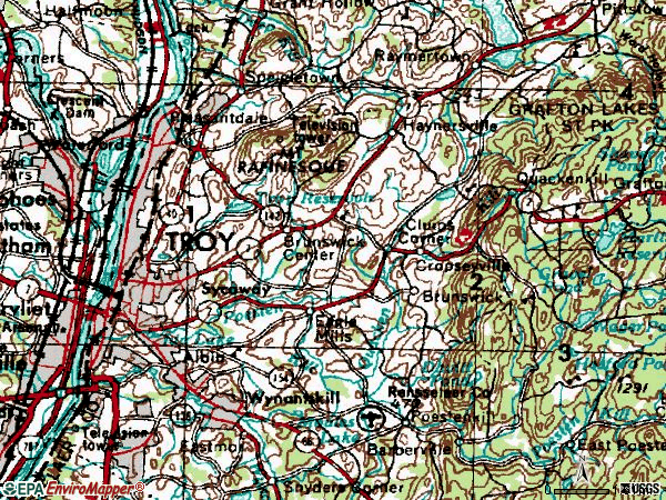 Zip code 12180 topographic map