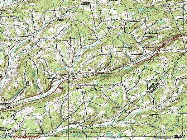 Zip code 12197 topographic map