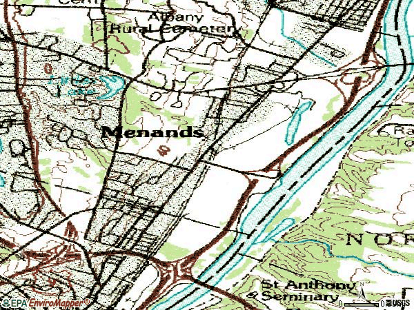 Zip code 12204 topographic map