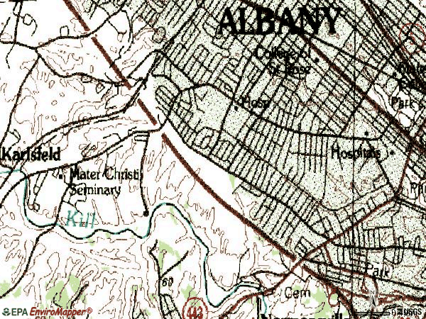 Zip code 12208 topographic map