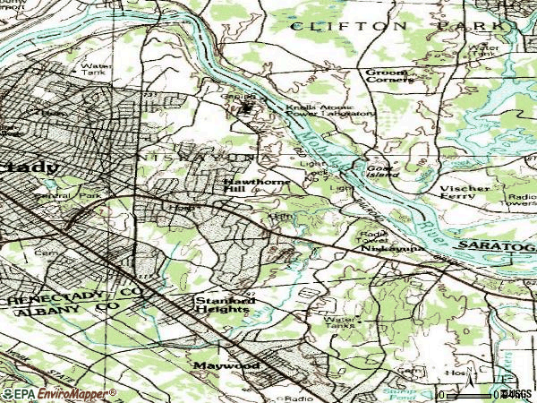 Zip code 12309 topographic map
