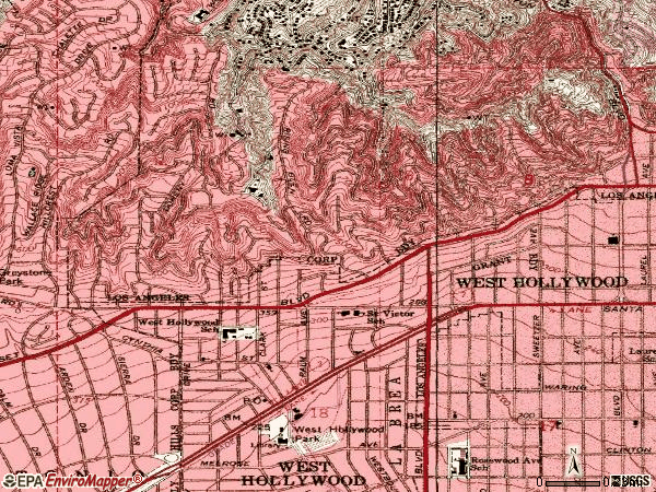 Zip code 90069 topographic map