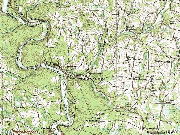 Zip code 12723 topographic map