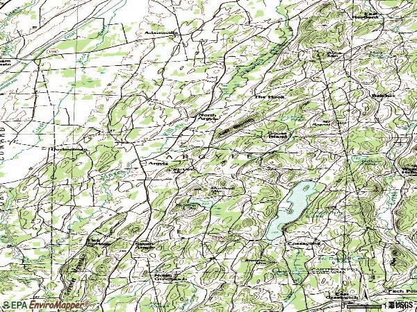 Zip code 12809 topographic map