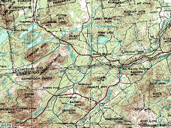 Zip code 12912 topographic map
