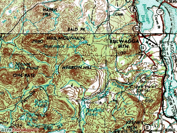 Zip code 12928 topographic map