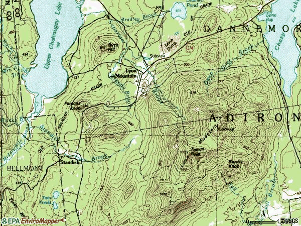 Zip code 12952 topographic map