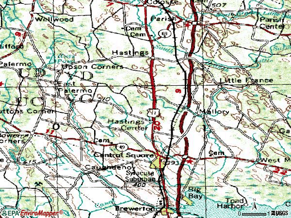 Zip code 13036 topographic map