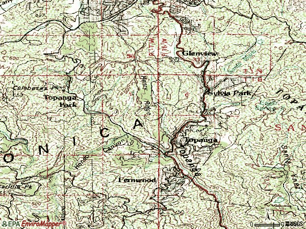 Zip code 90290 topographic map