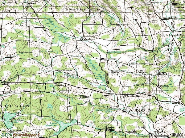Zip code 13408 topographic map