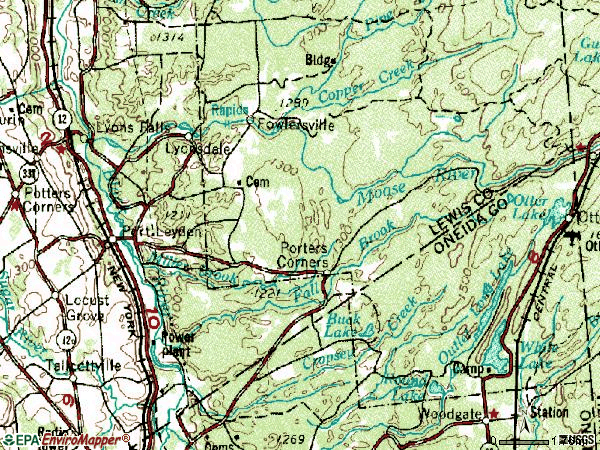 Zip code 13433 topographic map