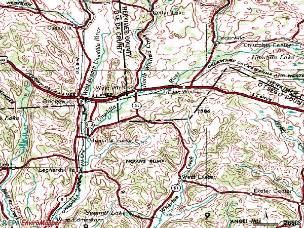 Zip code 13491 topographic map