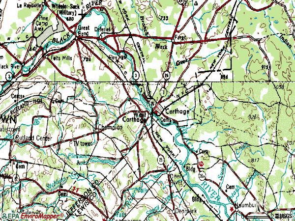 Zip code 13619 topographic map