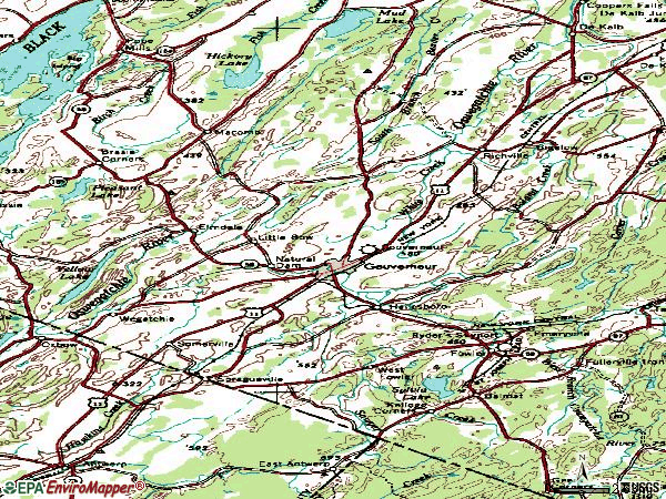 Zip code 13642 topographic map