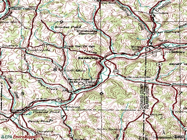 Zip code 13733 topographic map