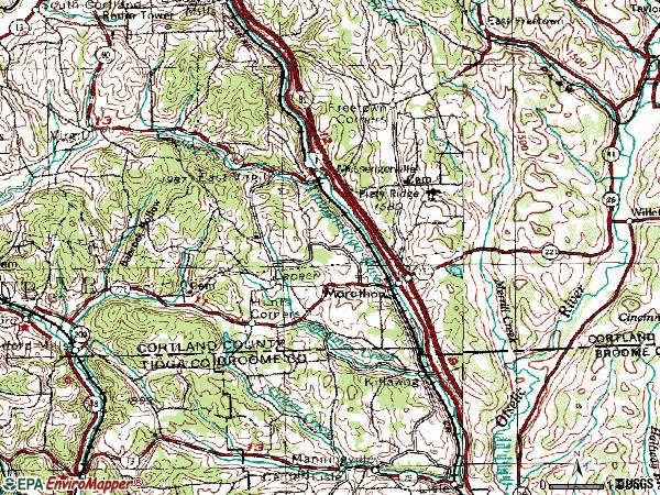 Zip code 13803 topographic map
